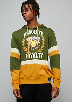 Green Colorblock Absolute Loyalty Graphic Hoodie