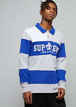 Blue Superb Striped Graphic Polo Shirt