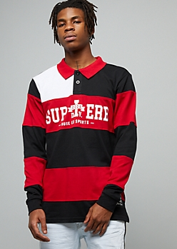 Red Superb Striped Long Sleeve Polo Shirt
