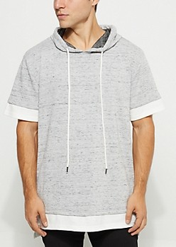 Heather Double Layer Short Sleeve Hoodie