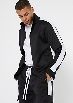 Black Side Striped Mock Neck Track Jacket