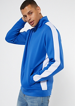 Royal Blue Side Striped Mock Neck Track Jacket