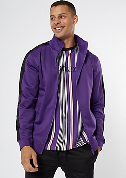 Purple Side Striped Mock Neck Track Jacket