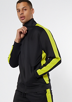 Green Side Striped Mock Neck Track Jacket