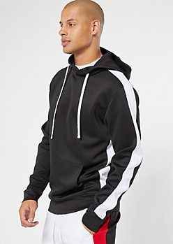 Black Side Striped Pullover Hoodie