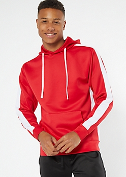 Red Side Striped Pullover Hoodie