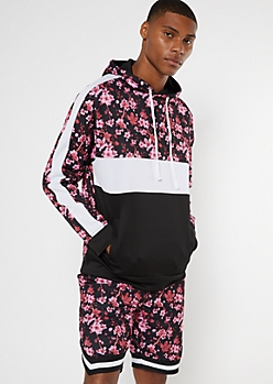 Black Cherry Blossom Print Colorblock Hoodie