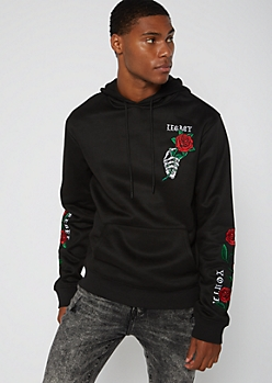 Black Legacy Rose Embroidered Hoodie