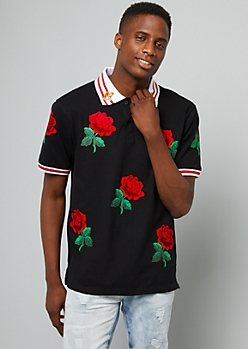 Black Tiger Rose Striped Polo