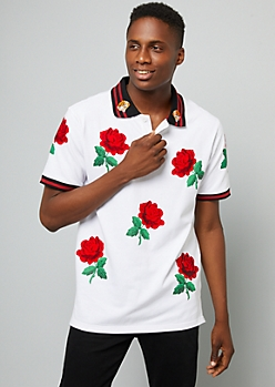 White Tiger Rose Striped Polo
