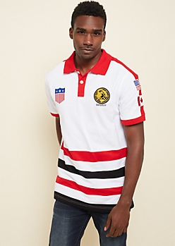 White Colorblock Flag Patch Polo