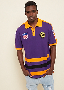 Purple Colorblock Flag Patch Polo