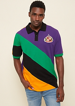 Purple Diagonal Colorblock Patch Polo
