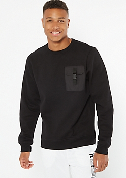 Black Utility Pocket Crew Neck Sweatshirt