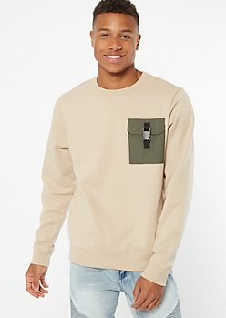 Sand Utility Pocket Crew Neck Sweatshirt