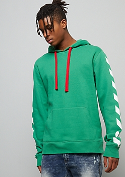 Green Good Vibes Striped Graphic Hoodie