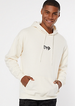 Ivory Drip Embroidered Fleece Hoodie