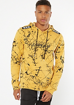 Yellow Marble Print Tokyo Patch Hoodie