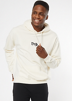 Ivory Drip Embroidered Hoodie