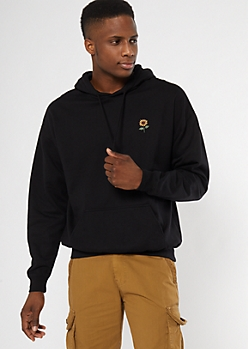 Black Sunflower Embroidered Hoodie
