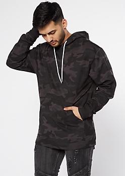 Black Camo Print Pullover Hoodie