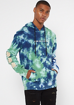Blue Tie Dye Now Or Never Embroidered Hoodie