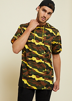 Yellow Camo Print Hooded Tee