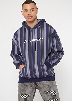 Blue Striped Los Angeles Embroidered Hoodie