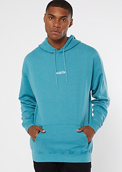 Teal Subtle Embroidered Hoodie