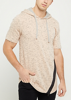 Cream Angled Side Zip Short Sleeve Hoodie
