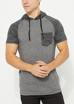 Space Dye Raglan Hooded Shirt