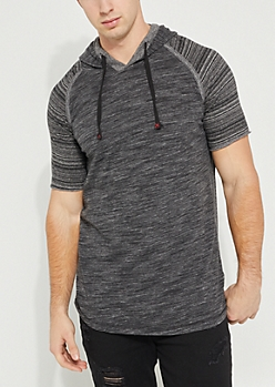 Black Space Dye Hooded Striped Contrast Tee