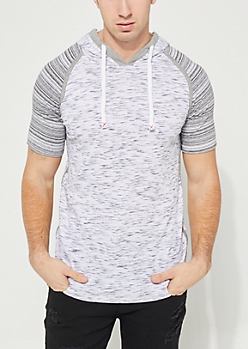 Space Dye Hooded Striped Contrast Tee