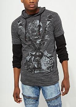 Charcoal Gray Skull & Guitar Hoodie