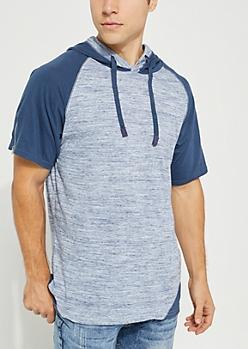 Navy Space Dye Zip Sleeve Hooded Shirt