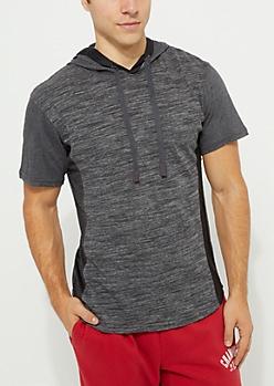 Black Space Dye Mesh Short Sleeve Hoodie