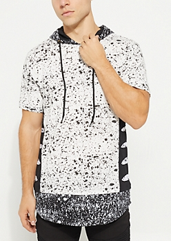 White Cutout Paint Splattered Short Sleeve Hoodie
