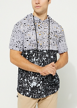 Gray Color Block Paint Splattered Short Sleeve Hoodie