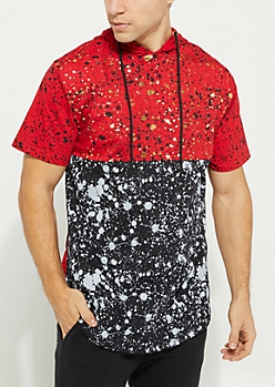 Red Splattered Colorblock Short Sleeve Hoodie