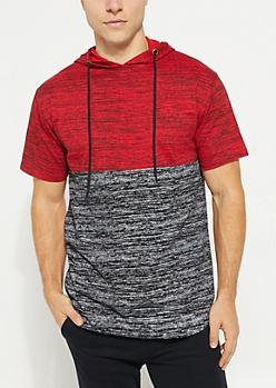 Red Space Dye Colorblock Short Sleeve Hoodie