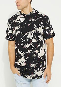 Black Splatter Print Tie Dye Short Sleeve Hoodie