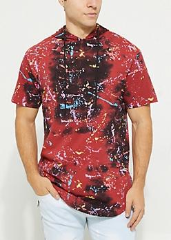 Red Splatter Print Tie Dye Short Sleeve Hoodie