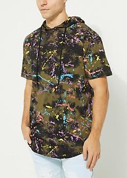 Olive Splatter Print Tie Dye Short Sleeve Hoodie