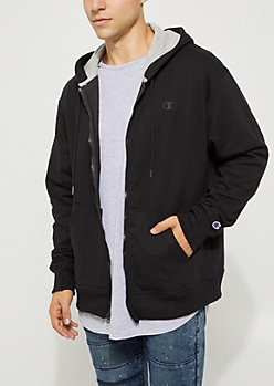 Black Powerblend Zip Down Hoodie By Champion