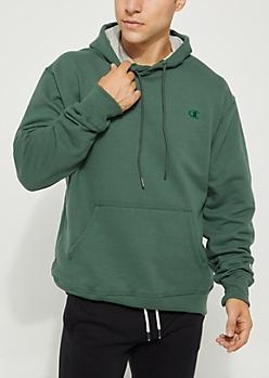 Dark Green Champion Logo Pullover Hoodie