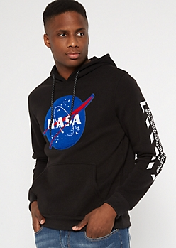 Black NASA Patch Embroidered Hoodie