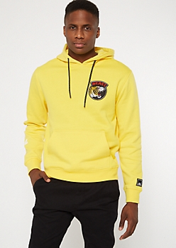 Yellow Leopard King Embroidered Hoodie