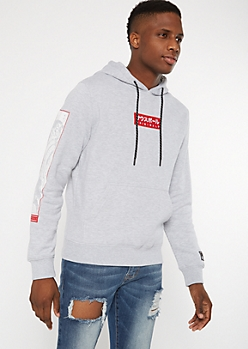 Gray Original Wave Kanji Embroidered Hoodie