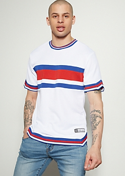 White Striped Rebel Star Ribbed Knit Jersey Tee