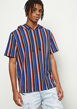 Royal Striped Short Sleeve Hooded Tee